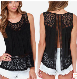 Wholesale Women Ruffled Tank - Women's Clothing Tops & Tees Tanks & Camis Fashion Women Summer Vest Top Sleeveless Casual Hollow Out Lace Plus Sizes Back Slit Tank Tops