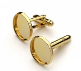 Wholesale Wholesale Cufflink Blank Trays - Free Shipping high quality gold plated cufflink blank base, cufflink 14mm Setting Tray for Glass Cabochons