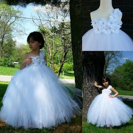 Wholesale Dress Child One Shoulder - One Shoulder Ball Gown Flower Girls Dresses For Weddings 2017 Real Image Christening Communion Birthday Dresses Children Junior Bridesmaid