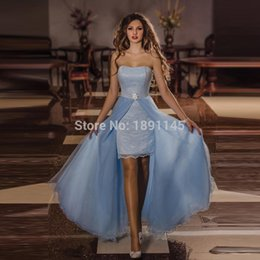 Wholesale Pageant Dresses For Women Short - Overskirt Prom Dresses 2016 Sexy Lace Runway Sexy Strapless Tulle imported-party Sheath Short For Pageant Women Removable Evening Dress