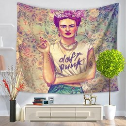 Wholesale Mat Cloth - Wholesale Frida Self-portrait Tapestry Polyester Wall Decoration Hanging Wall Cloth Tapiesteries Beach Towel Blanket Picnic Mat