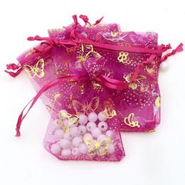 Canada 7x9cm Deep Pink Butterfly Bronzage Organza Bijoux Cadeau Sacs Pas Cher Pochettes Organza De Noël Cadeau Sacs 500 pcs / lot En Gros Offre