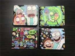 Wholesale Nice Black Leather Bags - Rick and Morty wallet Nice cartoon purse Free short long cash note case Money notecase Leather burse bag Card holders
