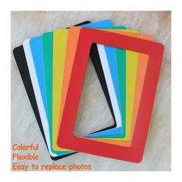 Wholesale Wholesale Magnets Picture - Magnetic Photo Frame Fridge Magnets Refrigerator Decor Flexible Multicolor Square Frame Picture Frames 5Pcs   Lot GHFM9001