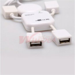 Wholesale Usb Hub Extension Free Shipping - Free shipping USB 2.0 4 Port High-speed Split Extension Cable USB Hub for apple iphone samsung computer PC Laptop Tablet phones