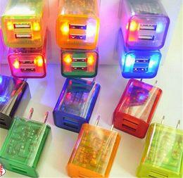 2019 chargeur usb double led US Plug Transparent LED Chargeur LED Lumière Double USB Chargeur Mural 1.0A 2.1A Adaptateur De Charge Pour samsung huawei chargeur usb double led pas cher