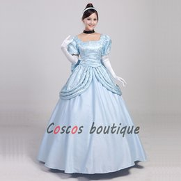 Wholesale Cinderella Costumes Adults - Custom made Adult Cinderella princess dress blue girl fancy dress halloween cosplay costume