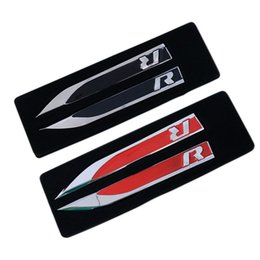Wholesale Gti Logos Sticker - Wholesale 1Set Side Wing Fender Badge Emblem Metal Alloy R Logo Sticker for VW Golf 6 7 MK7 MK6 GTI Tiguan Polo CC Jetta R32 R36 R400 R50