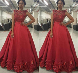 Wholesale one shoulder rose lace dress - 2017 Special Burgundy Prom Dresses Illusion Jewel Neck Lace Beaded Appliques Floral Rose Flowers Evening Dress Long Party Pageant Gowns