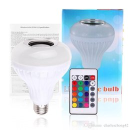Wholesale E27 Rgb Party - AC100-240V Bluetooth 3.0 Music Audio RGB Speaker Light RGB 12W E27 LED Bulb Lamp for iOS Android with Remote Control