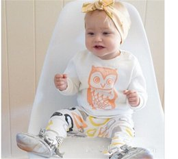 Wholesale Owl T - 2016 summer Fall baby girl clothing European America kids 6M 12M 18M 1YEAR 2Y 3Y Toddler clothes long sleeve white owl T-shirts pants sets