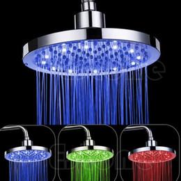 "Wholesale Lighted Shower Heads Rain - 8"" inch RGB LED Light Round Rain Bathroom Shower Head Color changing RGB LED Shower Head"