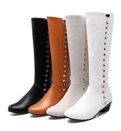 Wholesale Wholesale Thigh Boots - plus-size 35-47 Knight Boots Classic Women snow Knee Rivet Boots size us2-us15