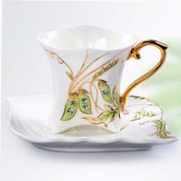 Wholesale Coffee Box Set - Fine Art Porcelain Ceramic Diamond Pea Coffee Tea Set With Sauce + Gift Box