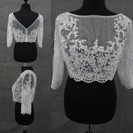 Wholesale Bridal Lace Bolero Pearls - Sheer White Lace Jacket With Sleeves Pearls Bridal Wedding Accessories 2017 Fall Soft Tulle Wedding Wraps