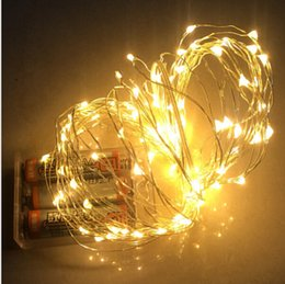 Wholesale Copper Wire String Lights Wholesale - 10M 100 led battery operated led string light LED copper wire fairy lights for Holiday Wedding Party christmas lights drops