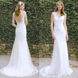 Wholesale Mermaid Wedding Dress Brush Train - 2016 Bride Elegant Mermaid Wedding Dresses Sheer V Neck Sleeveless Sexy Backless White Bridal Gowns with Romantic Lace Appliques Brush Train