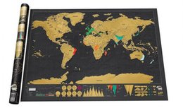Wholesale Decorative Walls Sticker - Deluxe Black Scratch World Map Edition Vintage Retro Decorative Poster Geography Teaching Fun Toy Travelers Children Kids Christmas Gift