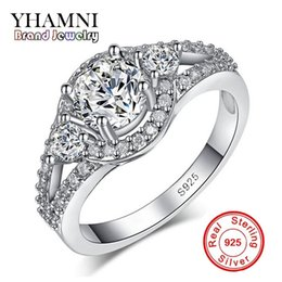 wedding arrow Promo Codes - YHAMN Hot Sale Hearts and Arrows 1 ct Sona Diamond Wedding Ring for Women Have S925 Logo Real Silver Ring Wholesale MR179