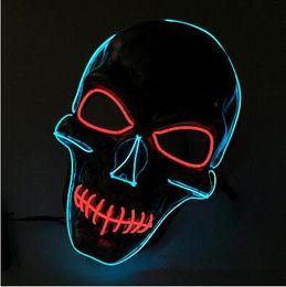 Wholesale Luminous Masks - Skull Party Mask Fashion LED Flashing Neon Light Luminous EL Wire Glowing Ghost Skull Mask Party Mask CCA7419 20pcs
