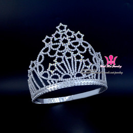 Wholesale Beauty Night Wholesale - Shining Stars Pageant Crowns Tiaras Lager Adjustable Miss Beauty Queen Hair Accessories Party Prom Night Clup Show Headdress 196-6
