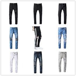 Wholesale High Quality Jeans Pants - 2017 High Quality NEW Brand SRPING BIKER DENIM Stripe JEANS MEN LOS ANGELES STREET FASHION Hole AMIRI BLACK JEANS SLIM SKINNY PANTS