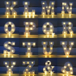 Wholesale Sign Alphabet Letters - 26 Letters White LED Night Light Marquee Sign Alphabet Lamp For Birthday Wedding Party Bedroom Wall Hanging Party Decoration CCA7411 100pcs