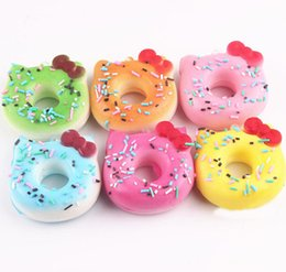 Wholesale Apples Pillows - 7cm-4 colors 10pcs lot Super squishy kawaii rare hello kitty donut squishy with tags toy soft hand pillow Chain Phone
