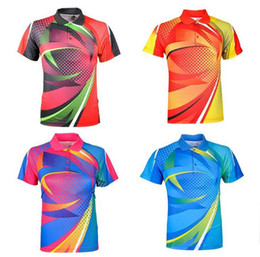 2019 roupas de badminton T-shirts para Ténis de Mesa, Poliéster Respirável de secagem rápida Ténis de Mesa Jersey roupas camisas, Badminton esporte suor t-shirt FRETE GRÁTIS roupas de badminton barato