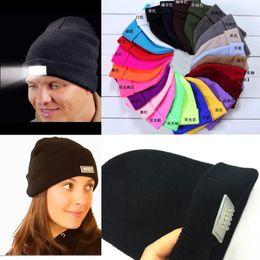 Wholesale Led Flashing Hats - Wholesale LED Glowing Winter Beanie Flash LED glowing knitted caps Camping Glowing Hat 5 led glow knitting hat for Christmas