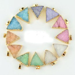 Wholesale Triangle Charms Wholesale - Druzy Quartz Crystal Charm Pendant Gold Plated Triangle Necklace Pendant High Quality DIY Druzy Jewelry 25*27mm