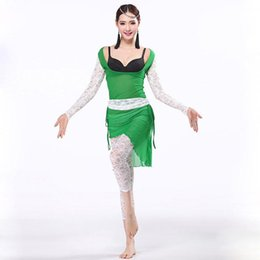 Wholesale Lace Cut Out Leggings - Sexy Training Belly Dance Clothes Long Sleeve Fitness Lace Leggings Breathable Elastic Fabric Spandex Clothing for Bellydance