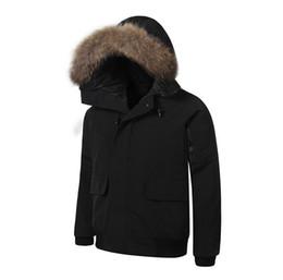 Wholesale Men Parka Goose - New 2018 Mens BOMBER PARKA big raccoon fur feather down short Winter Warm coat