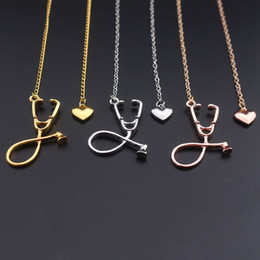 Wholesale heart wholesale - 2017 New Fashion Medical Jewelry Alloy I Love You Heart Pendant Necklace Stethoscope Necklace for Nurse Doctor Gift Wholesale
