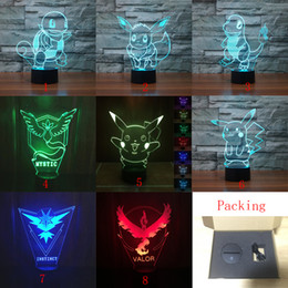 Wholesale Bedroom Desk Lamp - 8 Styles Pikachu 3D LED Nightlight 7 Colors Touch Control Desk USB Table Lamp Poke Gifts for Kids Bedroom Lighting Toys