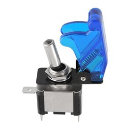 Wholesale Lighted Boat Toggle Switches - Blue 12V 20A Cover LED Light SPST Toggle Switch For Car Auto Trucks Boat ATV order<$18no track