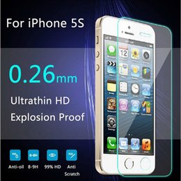 Wholesale Screen Protectors For Iphone4 - protective glass on the iPhone 5s 6 7 9H 2.5D Ultra Thin Explosion proof Tempered Glass Screen Protector For iPhone4 5 5C 5S SE