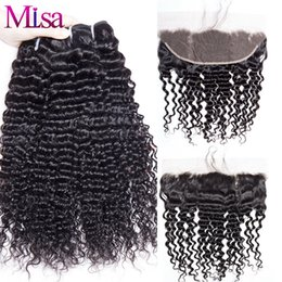 Wholesale Wholesale Cheap Hair Ties - Cheap Malaysian curly frontal and bundles Pre plucked lace frontal hand tied with baby hair black 1B Curly Malaysian human virgin hair