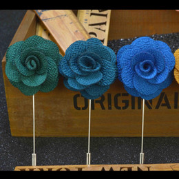 Wholesale Men S Wear China - S Size Cheap Fashion Solid Color Flower Brooch Lapel Pins Handmade Boutonniere Stick Fabric Flowers for Gentleman Suit Wear Men Accessories