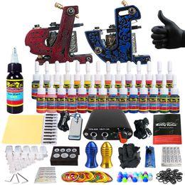 Wholesale Tip 31 - Solong Tattoo Beginner Tattoo Machine Gun Kit 2 Pro Machine Guns 28 Inks Power Supply Needle Grips Tips TK204-31