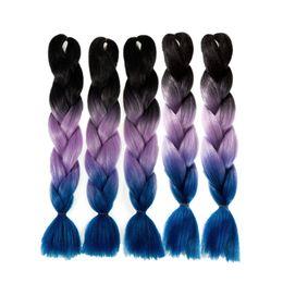Wholesale Ombre Box - 5pcs lot 24 inch Ombre Kanekalon Jumbo Braiding Hair African Box Twist Braids 100g pc Synthetic Hair Extensions 10 Colors