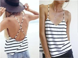 Wholesale Cool Tank Tops For Women - 2016 New Hot Style Striped Spaghetti Lady Vest Summer Cool V Neck Criss-Cross Backless Loose Women Camis Sexy Tank Tops For Girl