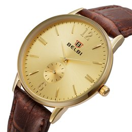 Wholesale Top Brand Watches China - 2016 China Men Luxury Brand Wristwatches BELBI New Model 35MM Simple Dial Compass Design Watch For Men Top Quality Leather Watch You Worth
