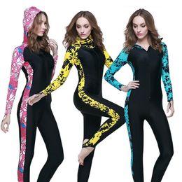 Wholesale Diving Swimwear - Womens Swimwear Wetsuit One Piece UPF50 Swimming Snorkeling Surfing Sports Clothing Rashguard Hooded Wetsuit Women Diving Suit Swimsuit