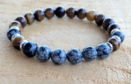 Wholesale Snowflakes Beads - SN1058 Tiger Eye Snowflake Obsidian Bracelet Fashion Mens Yoga Mala Beads Bracelet Healing Crystals Chakra Jewelry Free Shipping