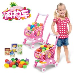 Wholesale Lovely Kids Shop - 2016 new style Hot Sale baby kids Pink Lovely shopping trolley +fruits vegetables walker free shipping