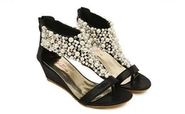 Wholesale Rome Sandals Gold - 2017 Rome shiny beaded wedge sandals low-heeled wedding shoes
