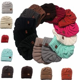 Wholesale Hand Crocheted Beanie Hats - 15 Colors Newest Women Big Girls CC hats Wool Beanie Winter Knitted Hats Warm Hedging Skull Caps Hand Crochet Caps Hats