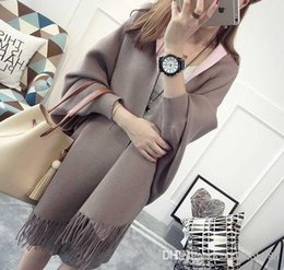 Wholesale Double Sided Sweater - Knitted shawl New pattern Cardigan dress Medium and long Thickened double sided bat sleeve Cape tassel sweater Wholesale sales