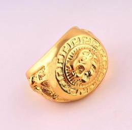 Wholesale Gold Lion Head Ring - Hip Hop Rings Bijoux Lion Head Portrait Rings 24 K Gold Tideway For Women Size 7 8 9 10 11